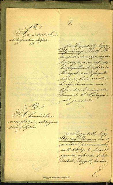 Cserey Ignác honvéd ezredes végkielégítési jegyzőkönyve 1896.