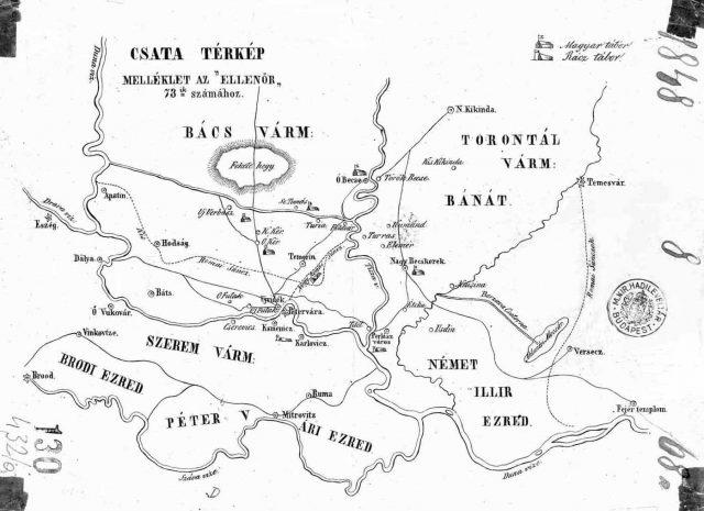 Szenttamási csata térképe 1848.