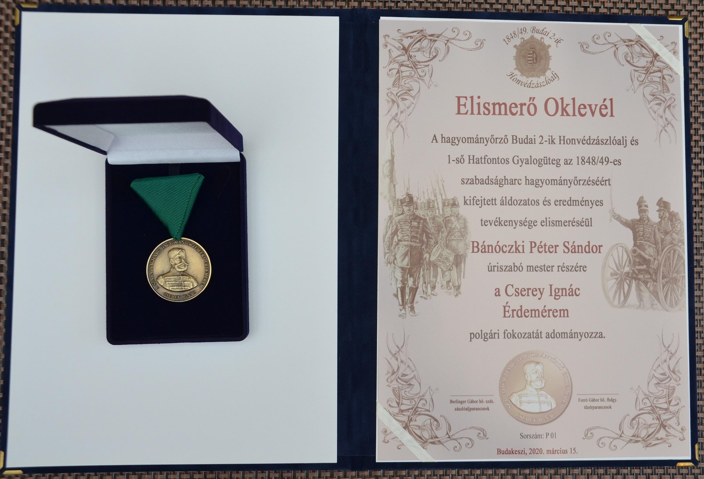 Bánóczki Péter érdemelte ki a Cserey Ignác érdemérem 1. sorszámú polgári fokozatát