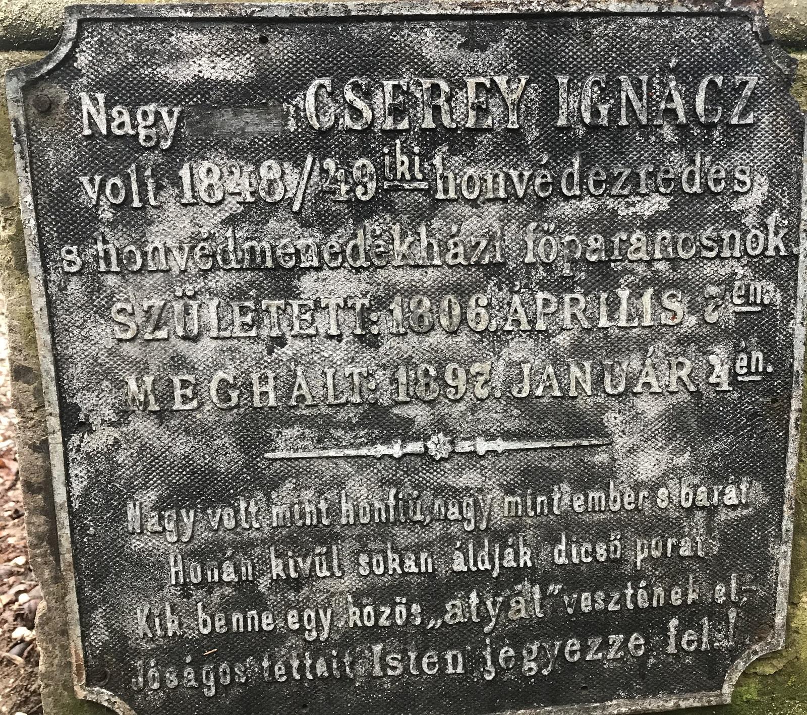 Cserey Ignác sírfelirata Egerben, a Hatvani Temetőben