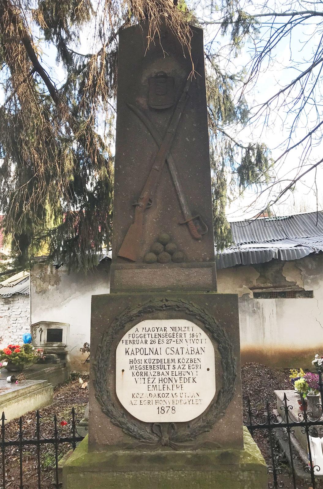 A Kápolnai csata emlékhelye Egerben