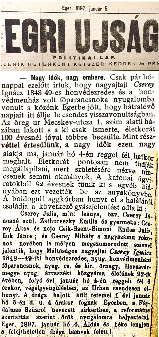 Cserey Ignác temetése - az Egri Újság cikke 1897 január 5.